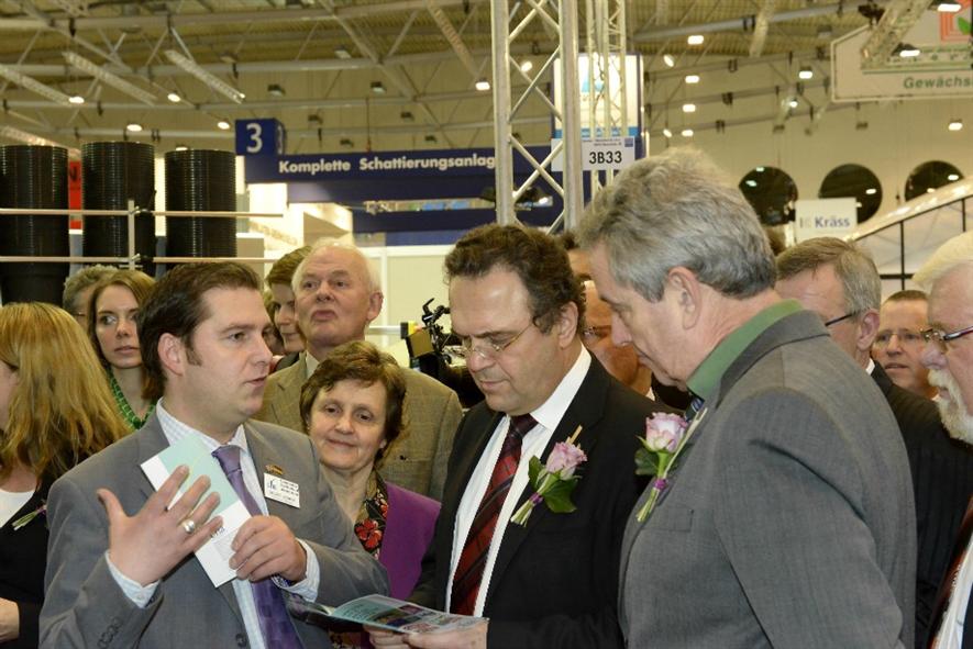 Stuart Booker (left) meets German politicians