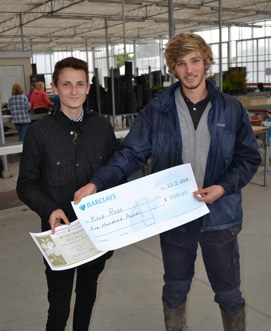 Wyevale's Ben Gregory with Kyle Ross