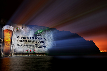 Carlsberg: 3D images projected on to the White Cliffs of Dover