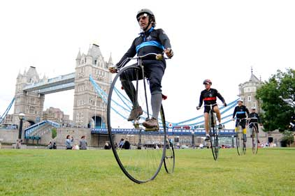Penny farthing riders: cycled to London from Paris to take part in Nocturne race