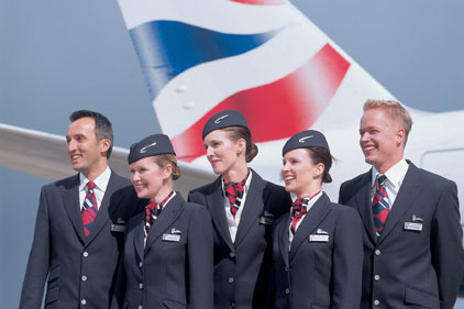 British Airways staff members standing in front of an aircraft