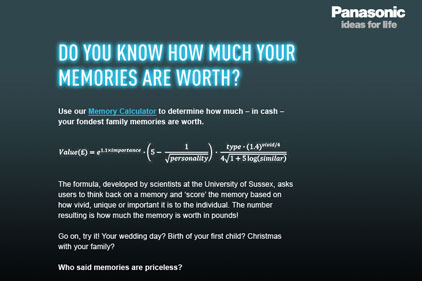Memories: Panasonic's monetary value calculator