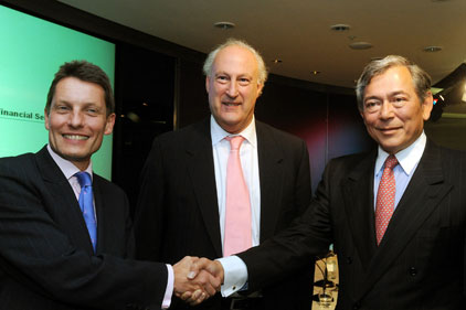 Powerbrokers: (l-r) HBOS' Andy Hornby and Lloyds' Sir Victor Blank and Eric Daniels tie up Lloyds/HBOS deal