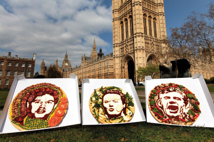 Party leader pizza portraits: Pizza Express