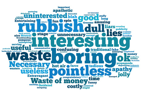 Unimpressed: OnePoll's word cloud reveals the public's view of party conferences