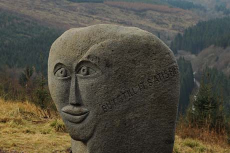 Attraction: The Talking Head statue in the Forest of Ae, Scotland (Credit: Forestry Commission scotland)