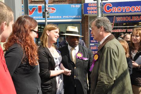 UKIP leader Nigel Farage campaigning in Croydon