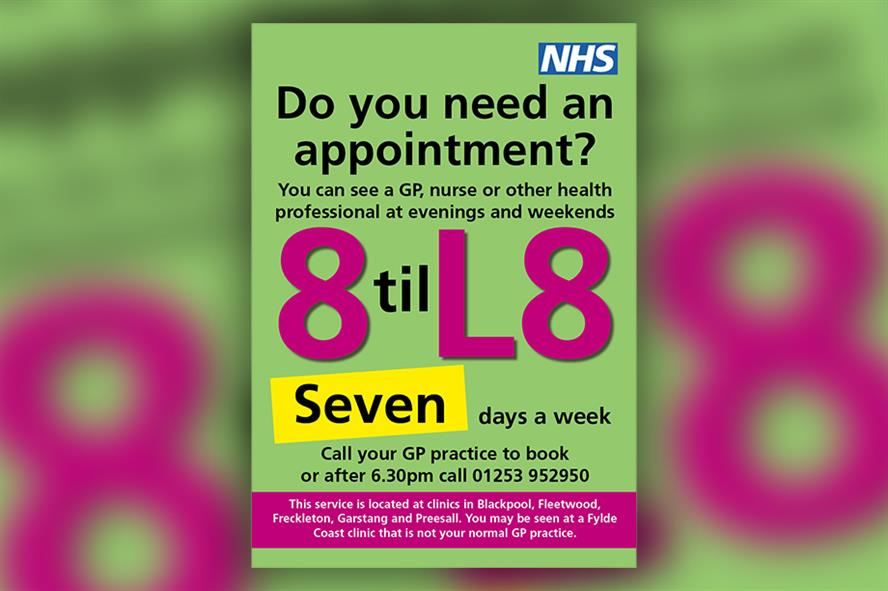One of the posters for the '8 til L8' campaign