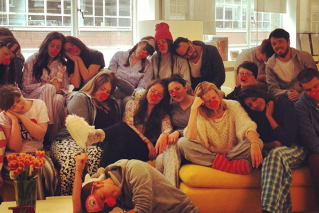 W Communications: napping on the job... for a good cause flack assumes