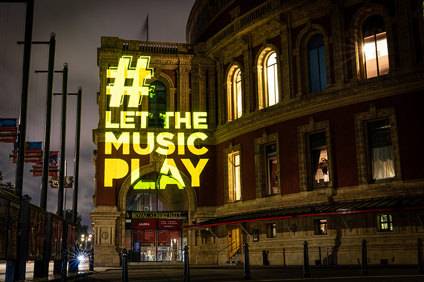 The campaign hashtag was projected on to iconic music venues such as the Royal Albert Hall