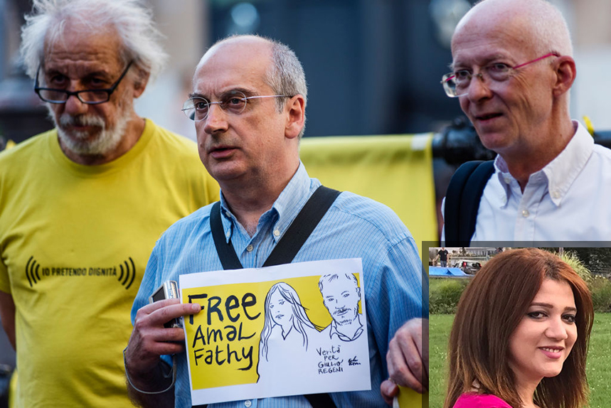 Protestors call for the release of activist Amal Fathy (inset) who was detained under new 'fake news' laws in Egypt