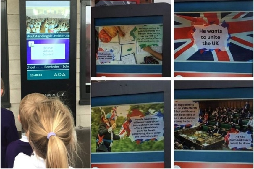 PR row erupted over images screened on school noticeboards