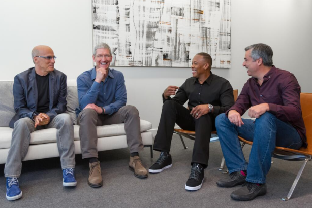 Apple CEO Tim Cook tweeted this photo after announcing the company had acquired Beats Electronics.
