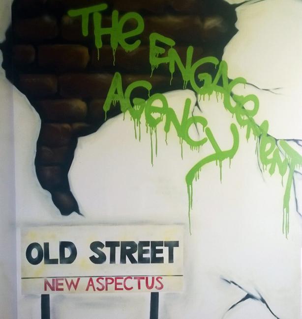 Office graffiti to celebrate the move to Tech City