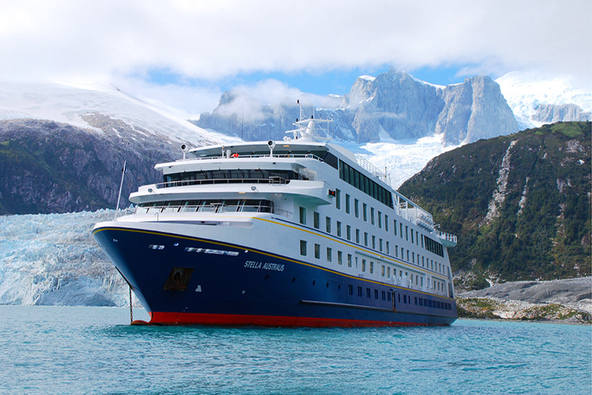 The Stella Australis drops anchor near a glacier in Patagonia