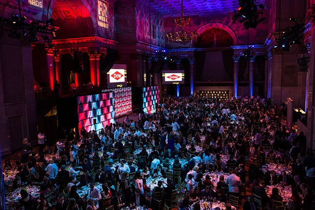 A packed room at Cipriani Wall Street celebrates the 2018 PRWeek Awards.