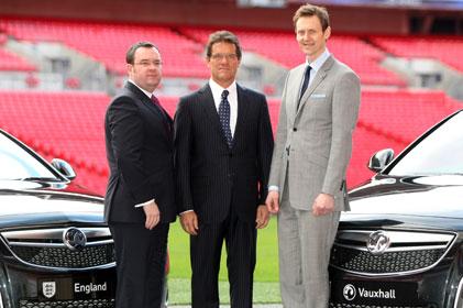 FA general secretary Alex Horne, England manager Fabio Capello, Vauxhall Motors MD Duncan Aldred.