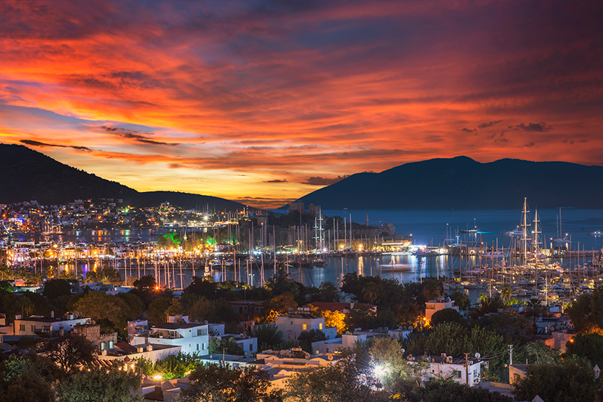 Sunset over the Turkish seaside city of Bodrum