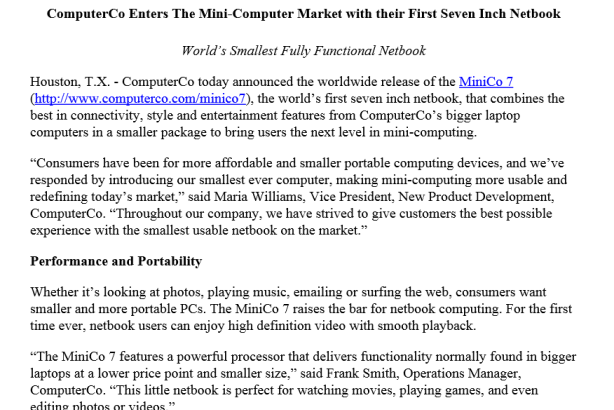 A sample press release from Business Wire