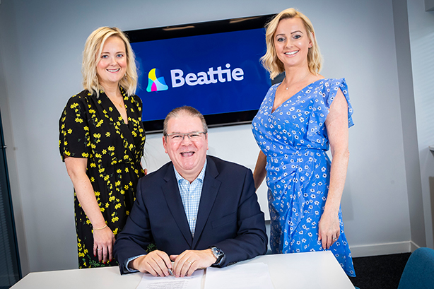 Beattie Scotland director Joanne Spence, Serious founder David McCavery and Beattie CEO Laurna Woods.