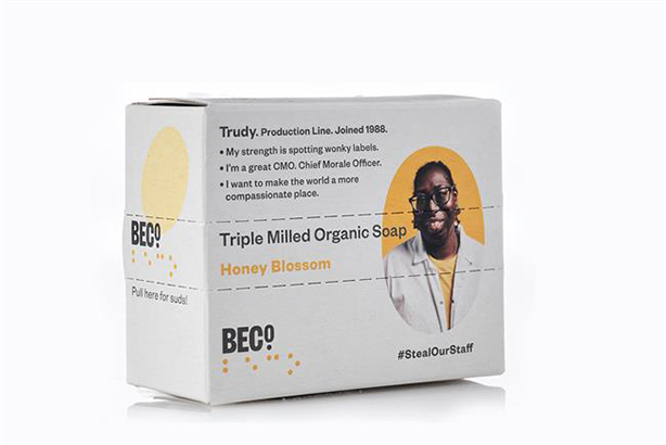 Beco: soap packaging promotes real staff