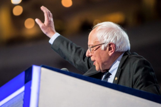 Bernie Sanders speaks to the Democratic National Convention on Monday night. (Image, cropped, via DNC Facebook page).