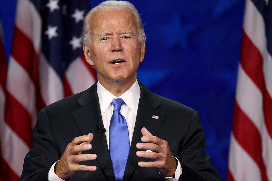 Joe Biden delivers his acceptance speech on the fourth night of the Democratic National Convention. Getty Images
