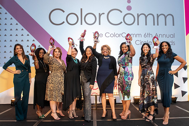 2019 Circle Award winners flanked by ColorComm founder Lauren Wesley Wilson (r) and Univision's Maity Interiano (l), who emceed the ceremony. (image courtesy of ColorComm)