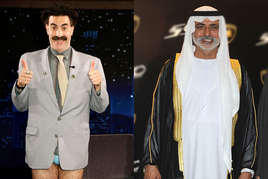 Borat's Giuliani stunt has fanned huge publicity for the movie launch, while Sheikh Nahyan has been accused of sexual assault (Photos: Getty Images)