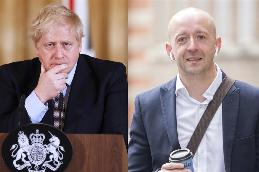 (Boris Johnson photo by FRANK AUGSTEIN/POOL/AFP via Getty Images; Lee Cain photo by Paul Grover/Shutterstock)