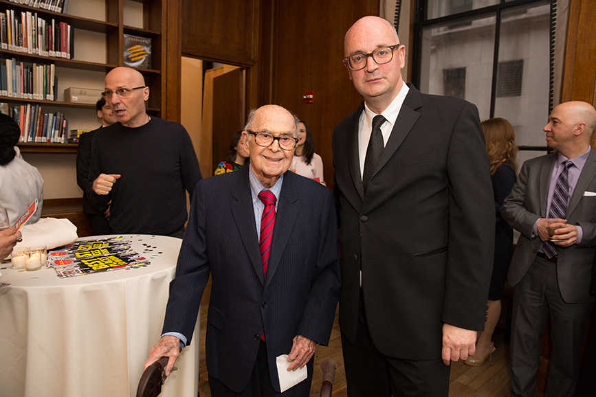 PR legend Harold Burson with PRWeek editorial director Steve Barrett at the 2019 PRWeek Awards. (Pic: Erica Berger.)