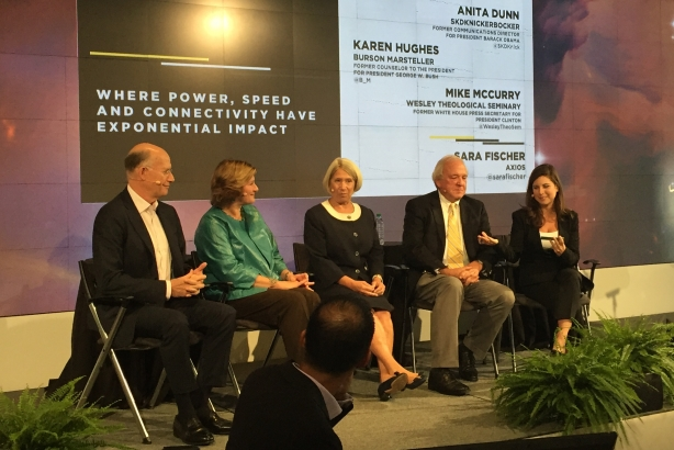L-R: Don Baer, Karen Hughes, Anita Dunn, Mike McCurry, and moderator Sara Fischer of Axios