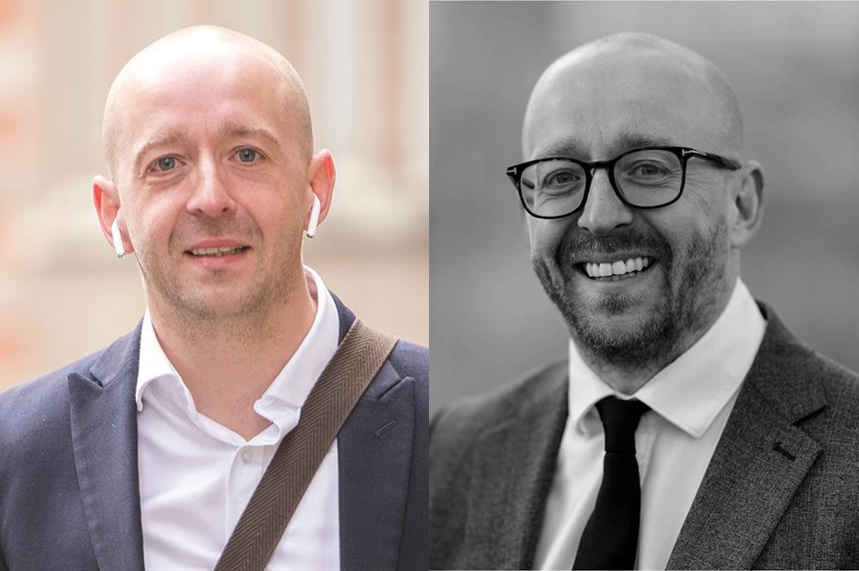 Lee Cain, during his time as director of comms at Downing Street (L, ©Shutterstock); and his new image (R)