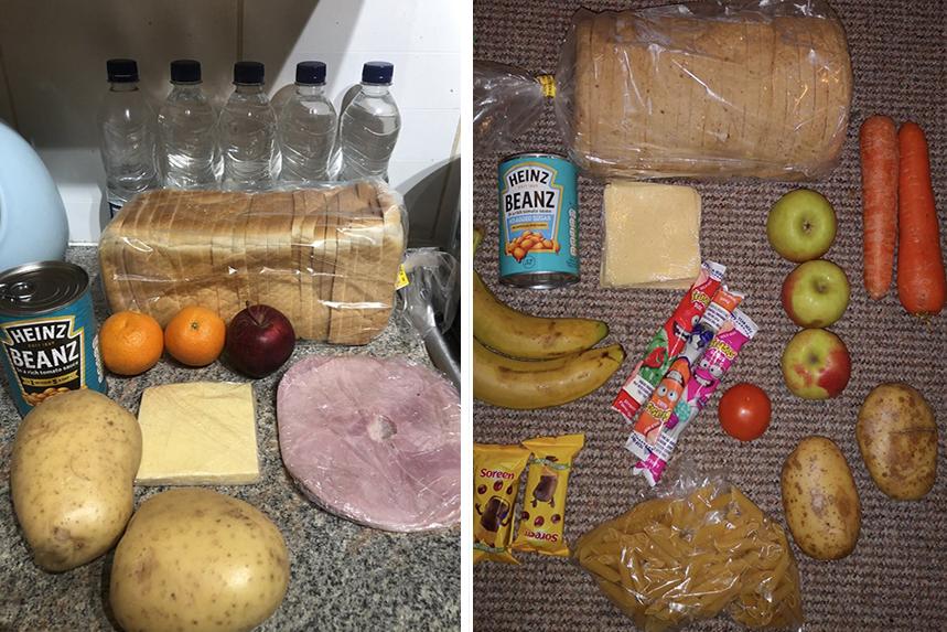 Examples of Chartwells' food parcels for schoolchildren have flooded social media