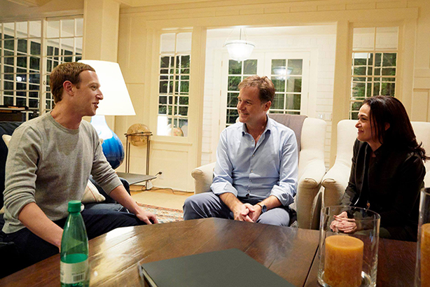 Mark Zuckerberg, Nick Clegg and Sheryl Sandberg (image via Sandberg's Facebook page)