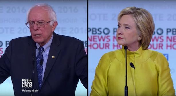 Clinton vs. Sanders VI (Image via PBS' YouTube account).