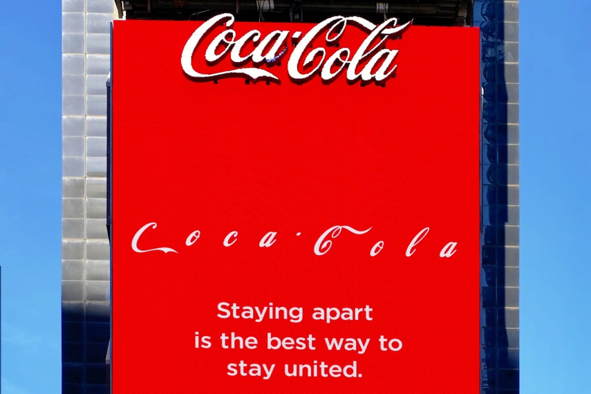 Does this really help anyone? A Coca-Cola ad in New York's Times Square