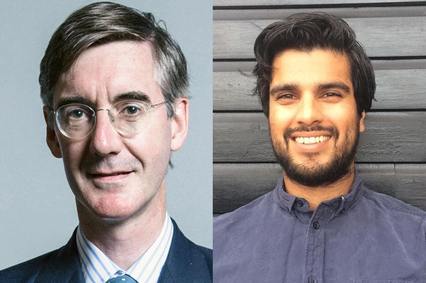 Jacob Rees-Mogg, leader of the House of Commons, left, and Arj Singh, deputy political editor, HuffPost UK (pic credits: Jacob Rees-Mogg: Getty Images. Arj Singh: via huffingtonpost.co.uk)