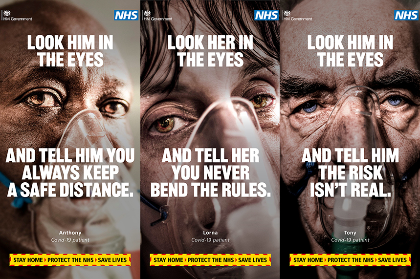Campaign posters from the latest Government campaign urging people to stay at home