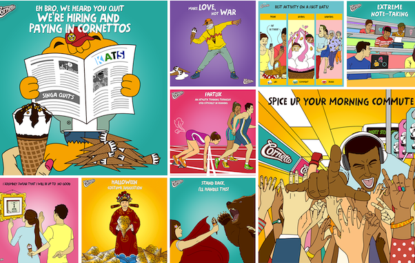 Ice work: Golin Singapore created these social media visuals for Cornetto