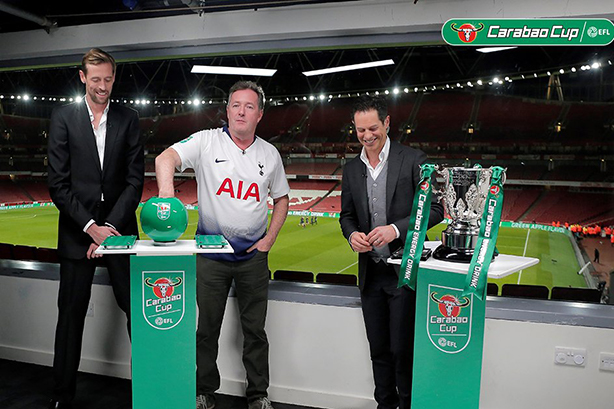 PR's man of the moment, Piers Morgan, helped drum up interest in the Carabao Cup draw