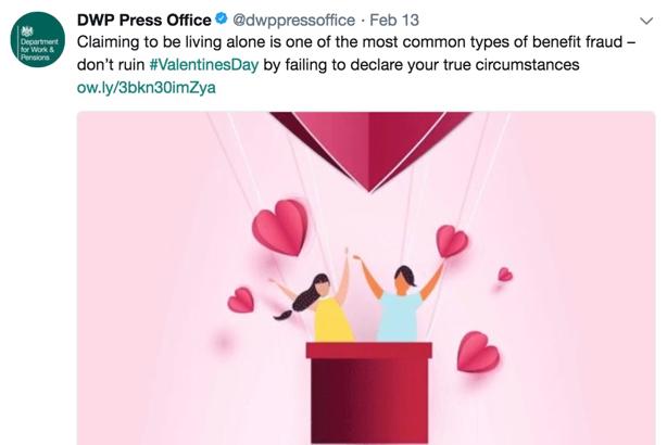 DWP Valentine's Day tweet: Stirred up social and media fury
