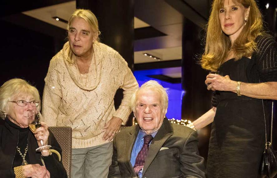 David Finn was inducted into the PRWeek Hall of Fame in 2015 and was joined at the ceremony by his wife, Laura Finn (left), assistant Susan Slack (center) and daughter Kathy Bloomgarden.