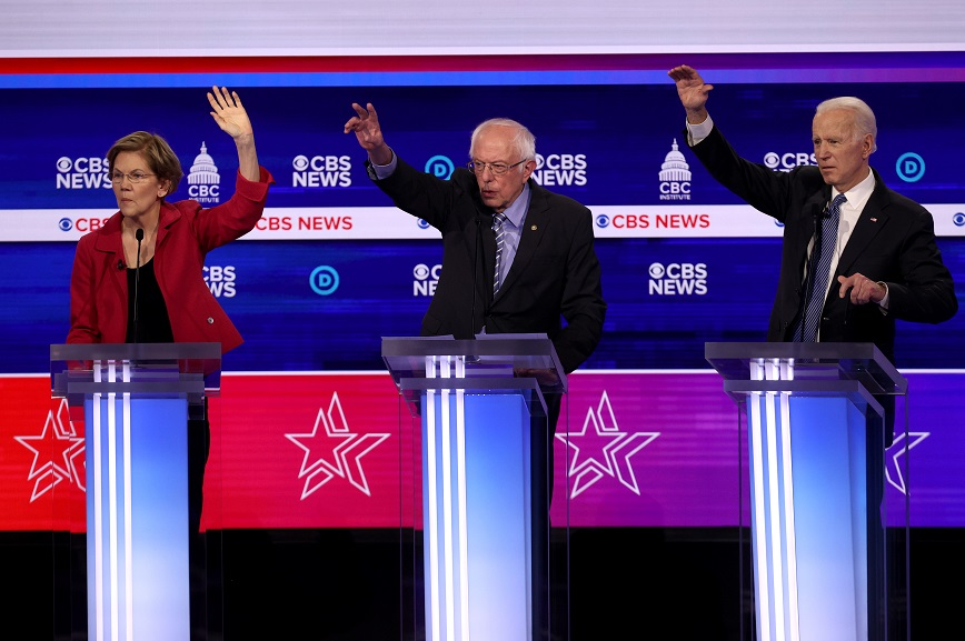 Presidential candidates (L-R) Sen. Elizabeth Warren (D-MA), Sen. Bernie Sanders (I-VT) and former Vice President Joe Biden at the presidential primary debate. Photo by Win McNamee/Getty Images