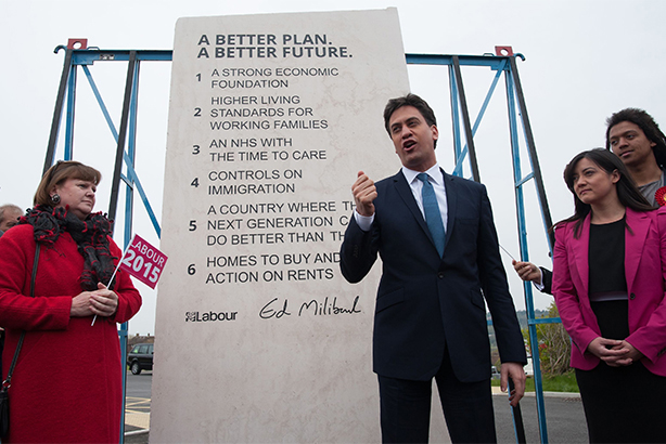 #edstone began trending on Twitter after Ed Milliband unveiled his 'manifesto stone' (©Stefan Rousseau/PA Archive/PA Images)