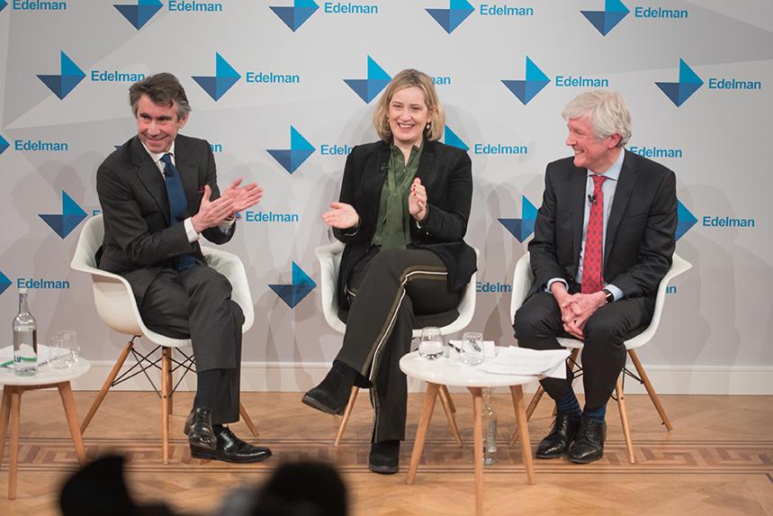 Edelman EMEA CEO Ed Williams with Amber Rudd and Tony Hall