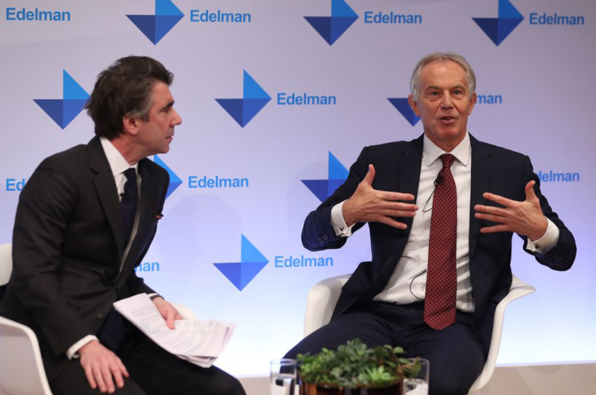Edelman's Ed Williams with Tony Blair at this year's Edelman Trust Barometer (©GettyImages)