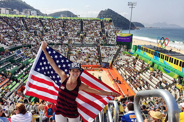 Edelman UK's Emily Favret takes in some beach volleyball on Copacabana Beach, Rio