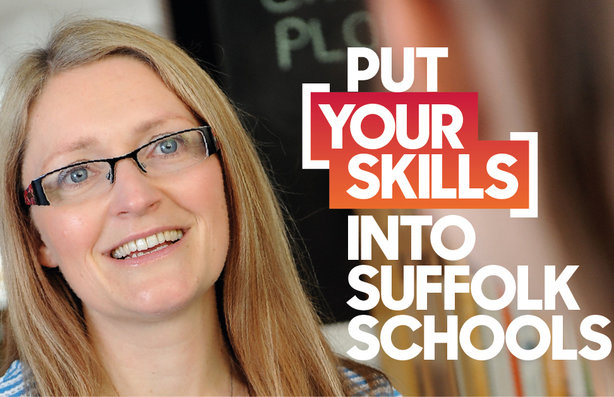 Emma Oddie, a school governor from Sudbury, is featured in the 'Put your skills into Suffolk schools' campaign