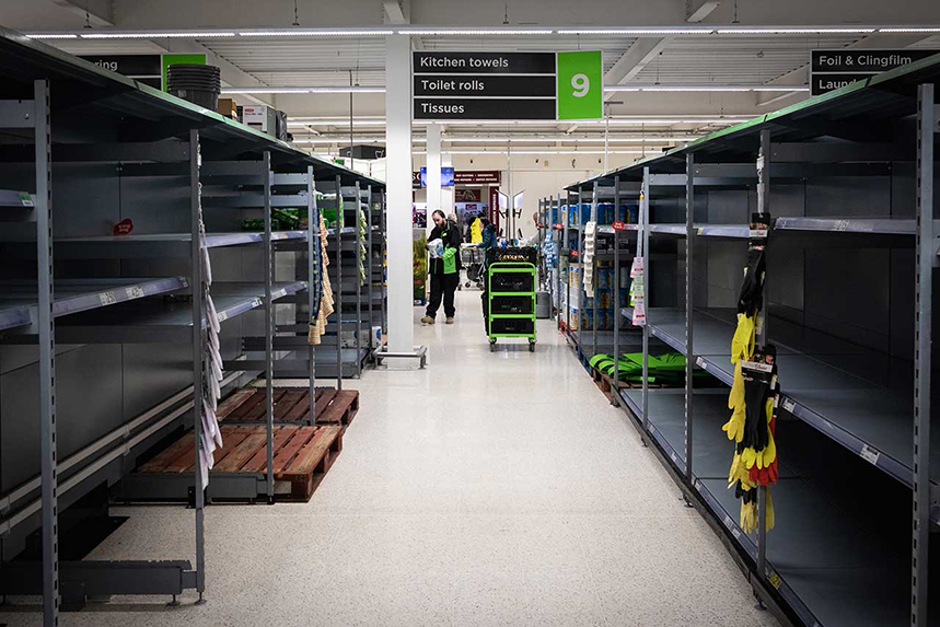 Empty shelves: panic-buying depriving others of staples (GettyImages)